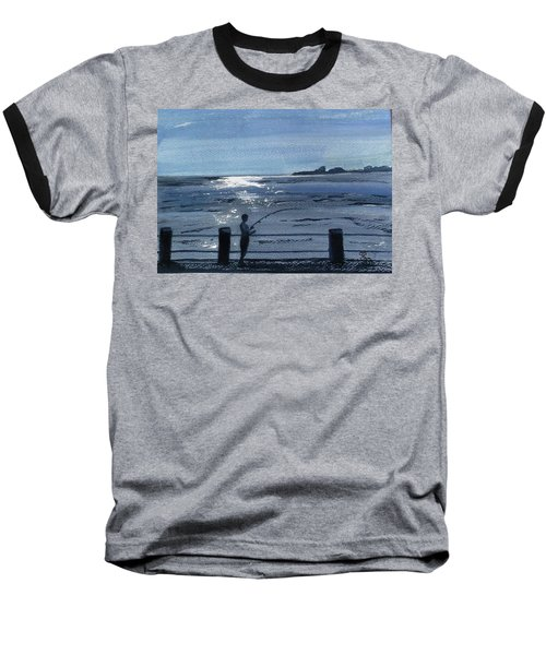 Lone Fisherman On Worthing Pier Baseball T-Shirt