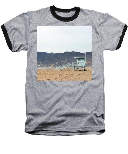 Lone Lifeguard Tower Baseball T-Shirt
