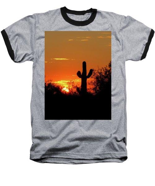 Lone Saguaro Sunrise Baseball T-Shirt