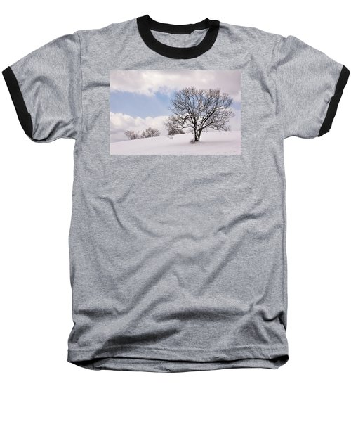 Lone Tree In Snow Baseball T-Shirt by Betty Denise