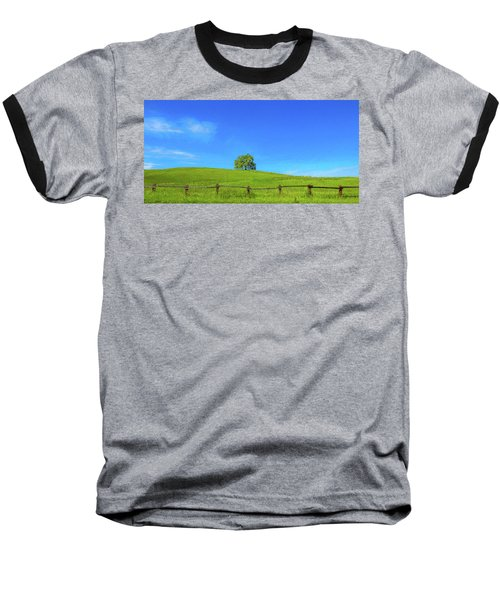 Lone Tree On A Hill Digital Art Baseball T-Shirt