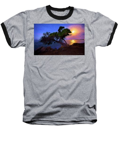 Lone Tree On Pacific Coast Highway At Moonset Baseball T-Shirt by John A Rodriguez