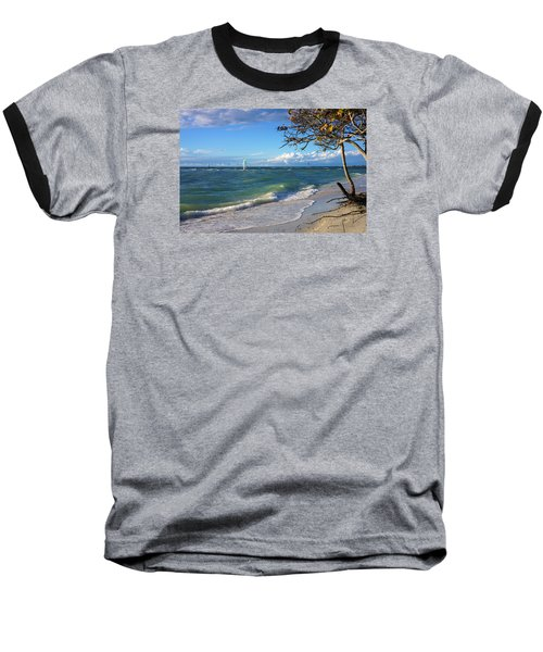 Baseball T-Shirt featuring the photograph Lone Windsurfer At Wiggins Pass by Robb Stan