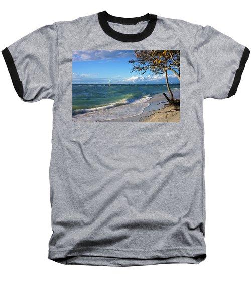 Lone Windsurfer At Wiggins Pass Baseball T-Shirt