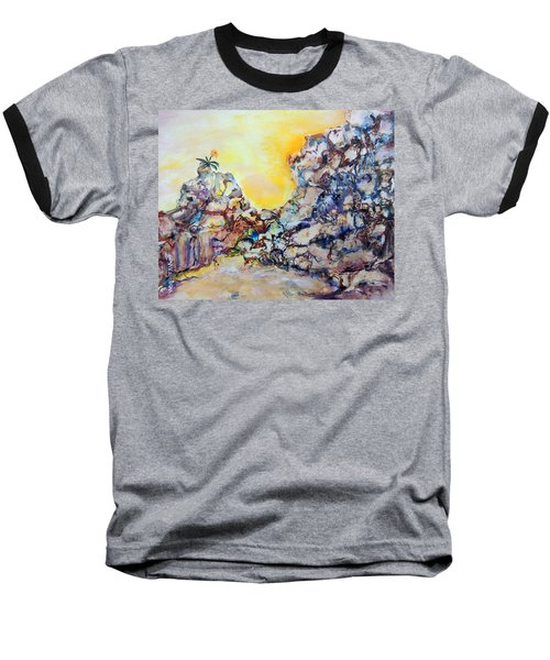 Baseball T-Shirt featuring the painting Lonely Flower by Mary Schiros