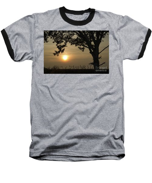 Lonely Tree At Sunset Baseball T-Shirt