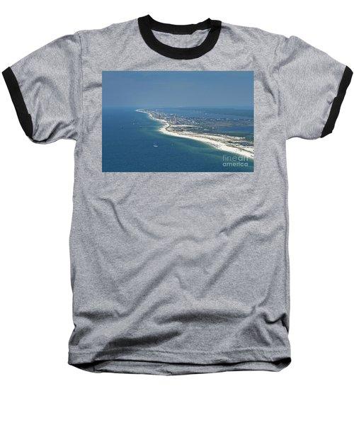 Long, Aerial, Beach View Baseball T-Shirt