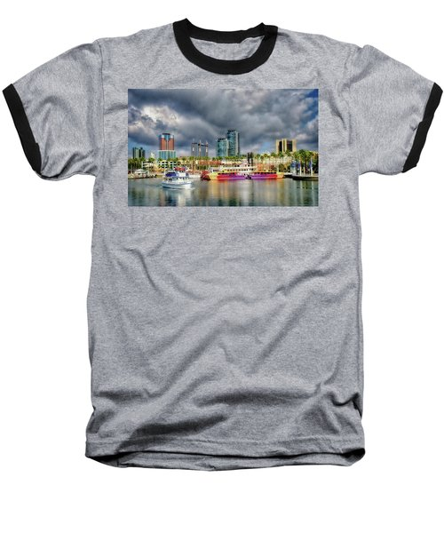 Long Beach Shoreline Marina Baseball T-Shirt