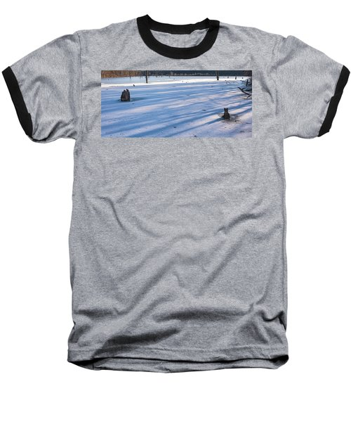 Long Blue Shadows Of Early Morning Baseball T-Shirt by Angelo Marcialis