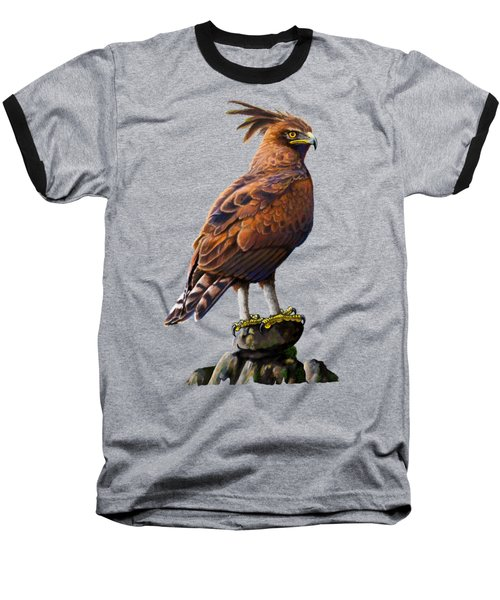Long Crested Eagle Baseball T-Shirt by Anthony Mwangi