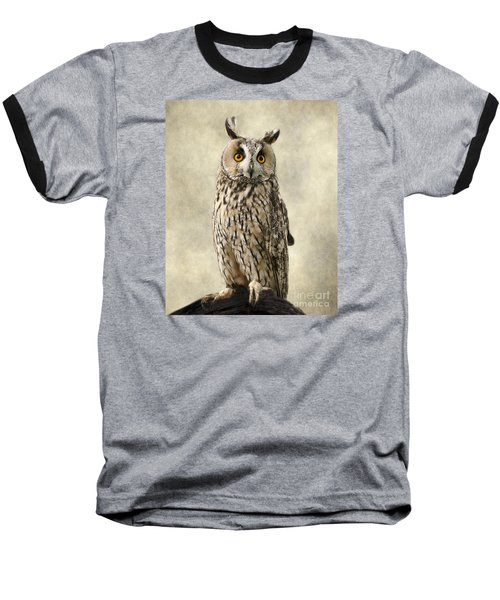 Long Eared Owl Baseball T-Shirt by Linsey Williams