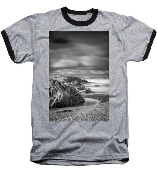Long Exposure Of A Shingle Beach And Rocks Baseball T-Shirt
