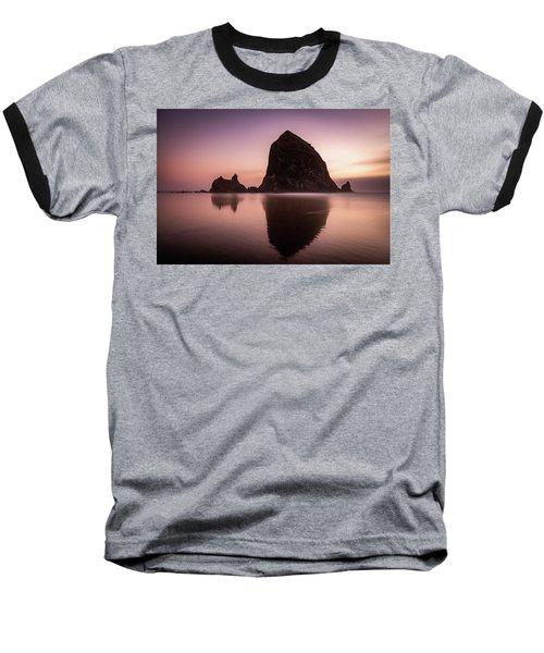 Long Exposure Of Haystack Rock At Sunset Baseball T-Shirt