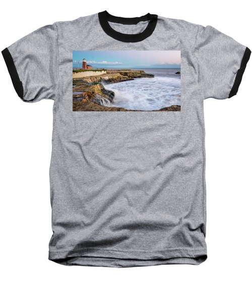 Long Exposure Of Waves Against The Cliff With Lighthouse In Shot Baseball T-Shirt