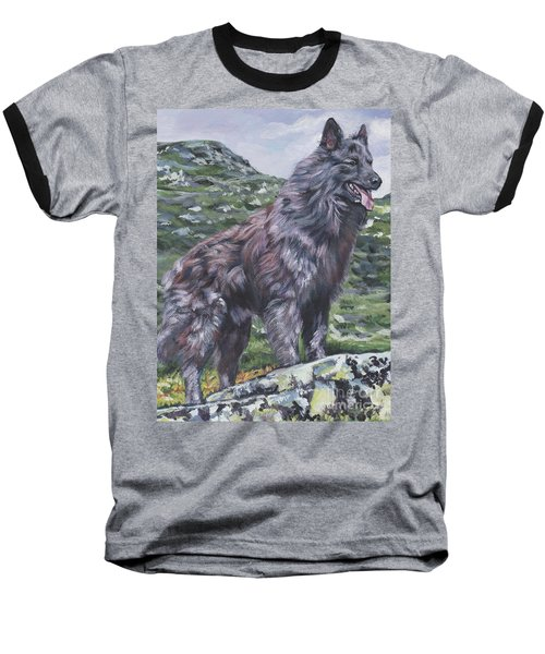 Baseball T-Shirt featuring the painting Long Hair Dutch Shepherd by Lee Ann Shepard