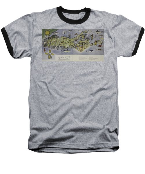 Long Island An Interpretive Cartograph Baseball T-Shirt by Duncan Pearson