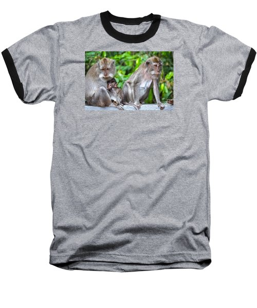 Long Tailed Macaques Baseball T-Shirt by Cassandra Buckley