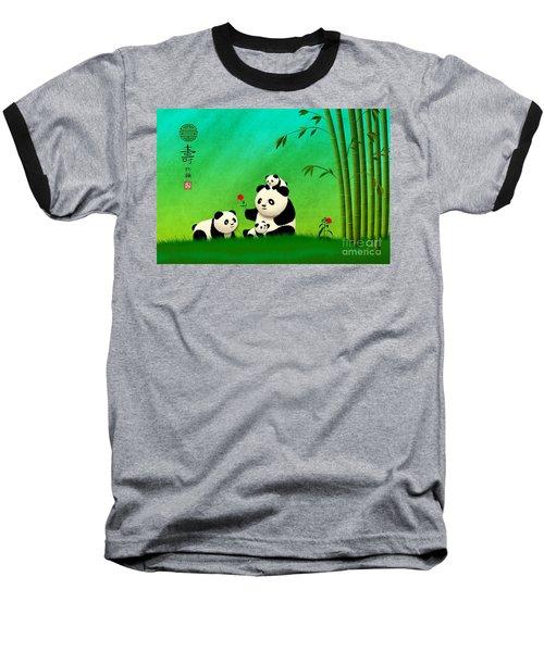 Longevity Panda Family Asian Art Baseball T-Shirt by John Wills