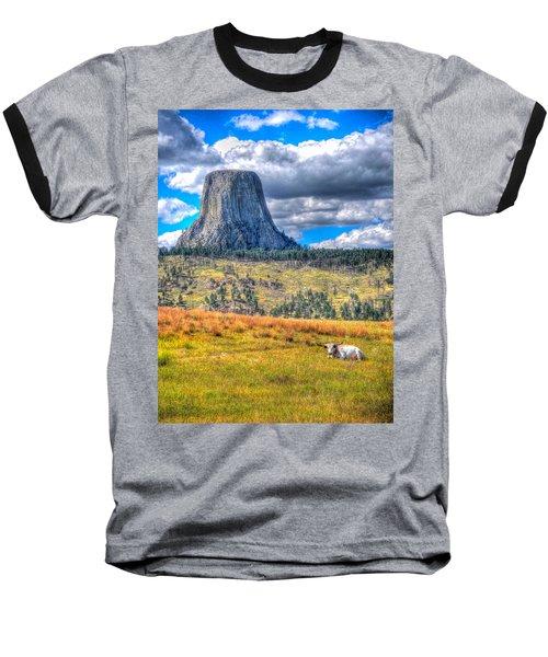 Longhorn At Devils Tower Baseball T-Shirt