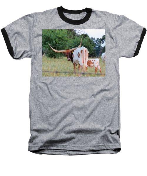 Baseball T-Shirt featuring the photograph Longhorn Cattle by Robin Regan