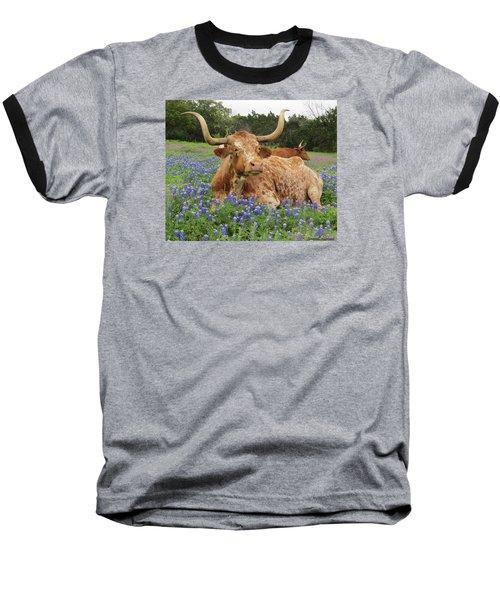Da210 Longhorn In A Sea Of Bluebonnets By Daniel Adams Baseball T-Shirt