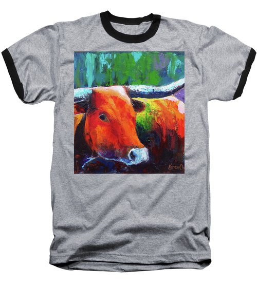 Baseball T-Shirt featuring the painting Longhorn Jewel by Karen Kennedy Chatham