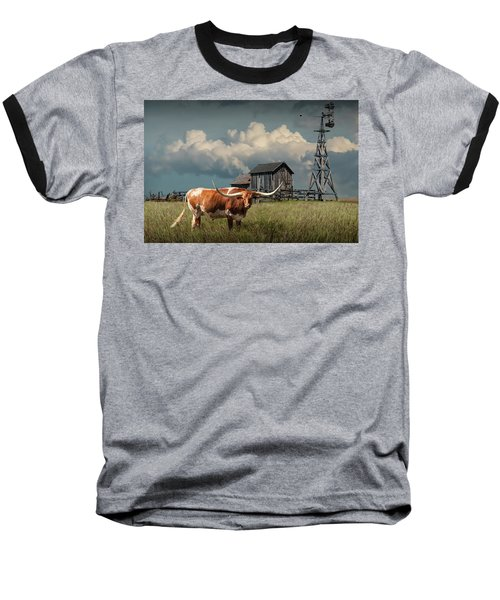 Longhorn Steer In A Prairie Pasture By Windmill And Old Gray Wooden Barn Baseball T-Shirt