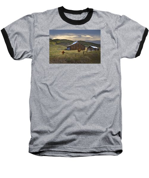 Longhorns On The Road To Steamboat Lake Baseball T-Shirt by John Hix
