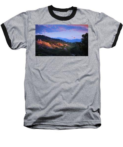 Longs Peak And Glowing Rocks Baseball T-Shirt