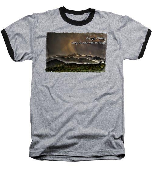 Long's Peak In Haze Baseball T-Shirt