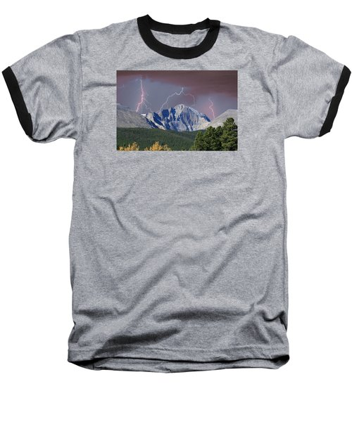 Longs Peak Lightning Storm Fine Art Photography Print Baseball T-Shirt by James BO  Insogna