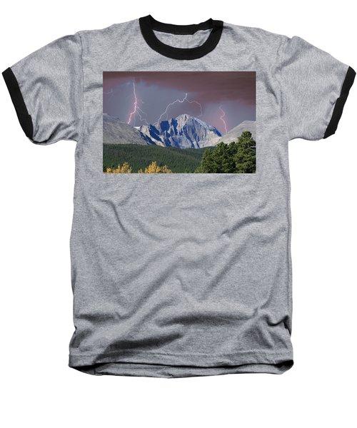 Longs Peak Lightning Storm Fine Art Photography Print Baseball T-Shirt