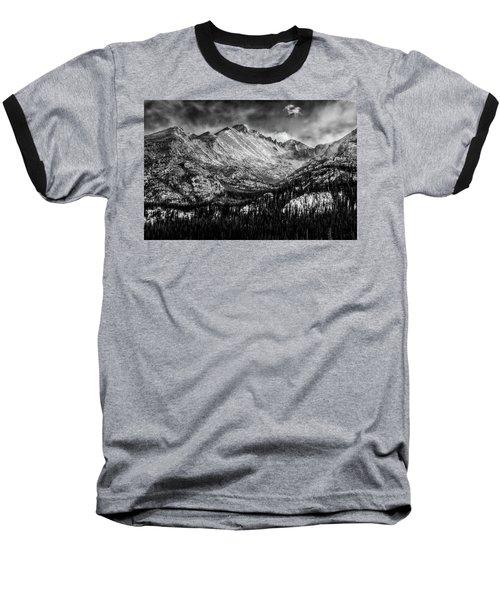 Longs Peak Rocky Mountain National Park Black And White Baseball T-Shirt