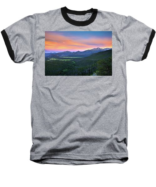 Baseball T-Shirt featuring the photograph Longs Peak Sunset by David Chandler