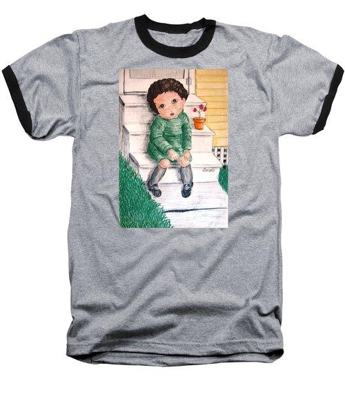 Lonley Girl On Back Step Baseball T-Shirt