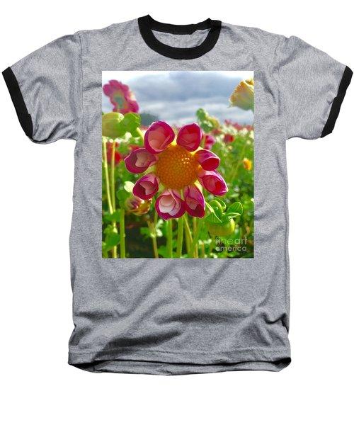 Look At Me Dahlia Baseball T-Shirt by Susan Garren