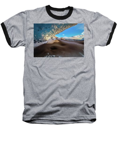 Look Out From Glacier Cave Baseball T-Shirt by Allen Biedrzycki