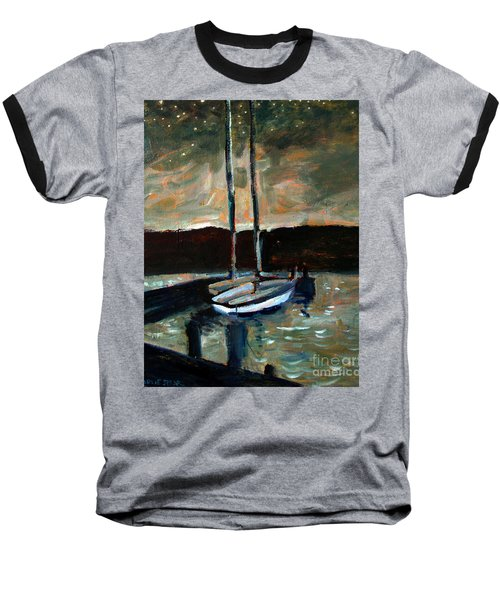 Baseball T-Shirt featuring the painting Looking Across Upper Lake Camp Wayne by Charlie Spear