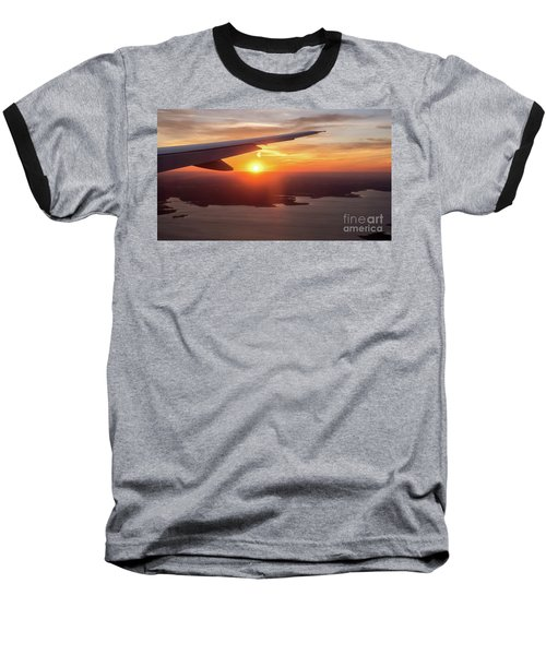 Looking At Sunset From Airplane Window With Lake In The Backgrou Baseball T-Shirt