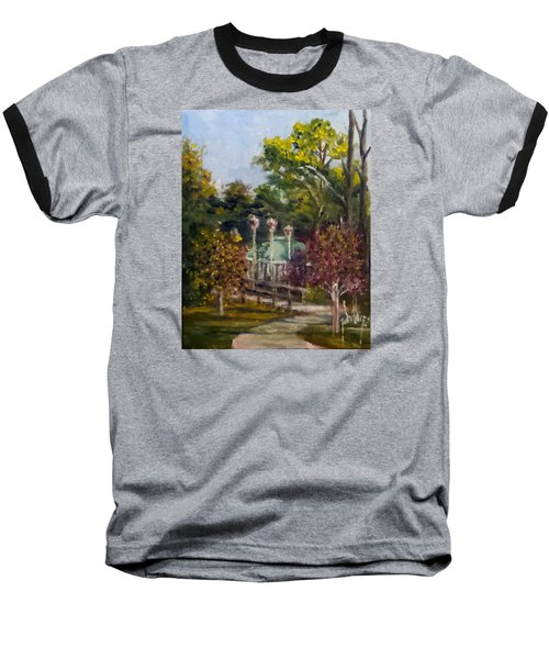 Baseball T-Shirt featuring the painting Looking Back At The Vietnam Memorial by Jim Phillips