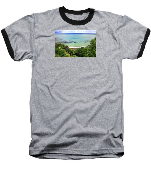 Baseball T-Shirt featuring the photograph Looking Down To The Beach by Nareeta Martin
