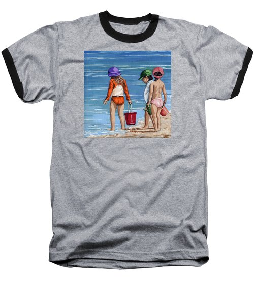 Looking For Seashells Children On The Beach Figurative Original Painting Baseball T-Shirt by Linda Apple