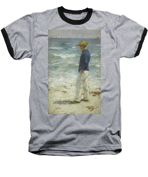 Baseball T-Shirt featuring the painting Looking Out To Sea by Henry Scott Tuke