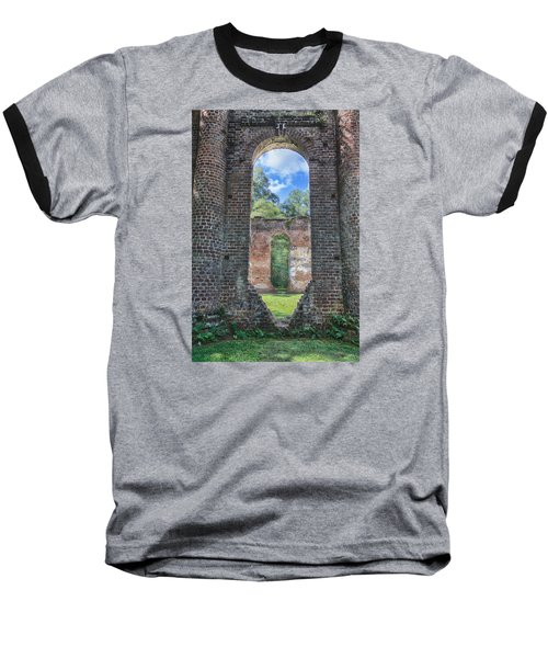 Baseball T-Shirt featuring the photograph Looking Through The Old Sheldon Church by Patricia Schaefer