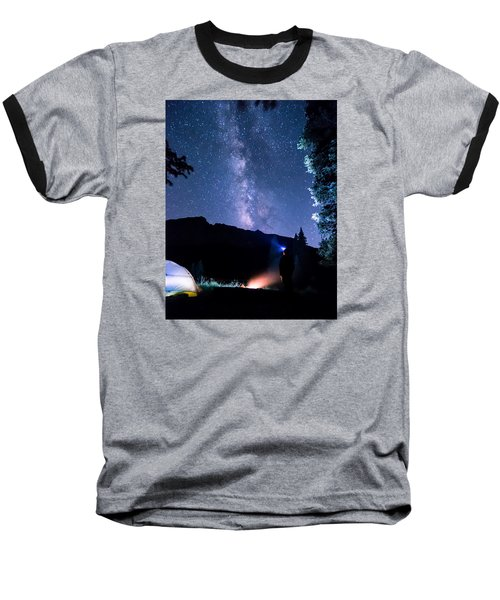 Looking Up At Milky Way Baseball T-Shirt by Michael J Bauer