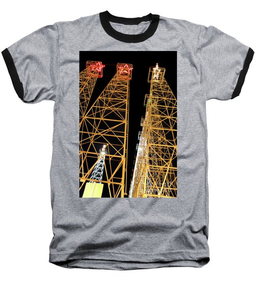 Looking Up At The Kilgore Lighted Derricks Baseball T-Shirt by Kathy  White