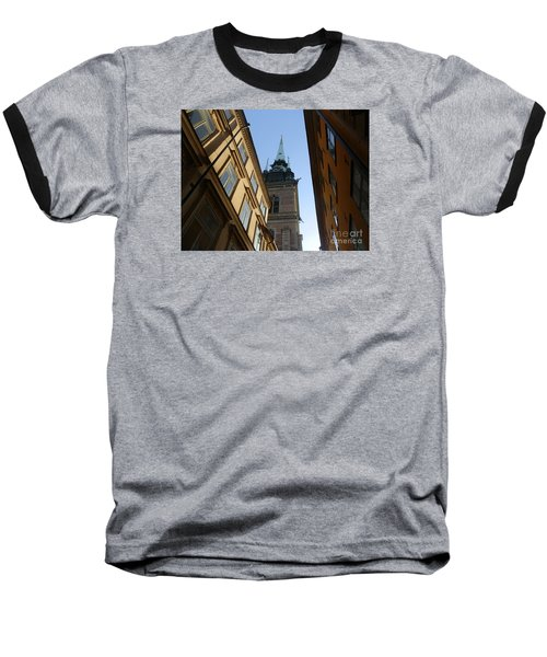 Looking Up From A Stockholm Street Baseball T-Shirt by Margaret Brooks