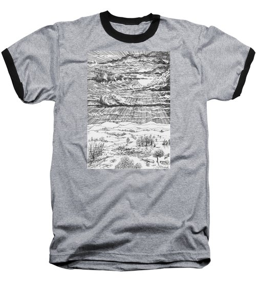 Looming Snowstorm Baseball T-Shirt by Charles Cater