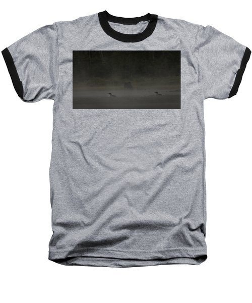 Loon And Moose In The Mist Baseball T-Shirt