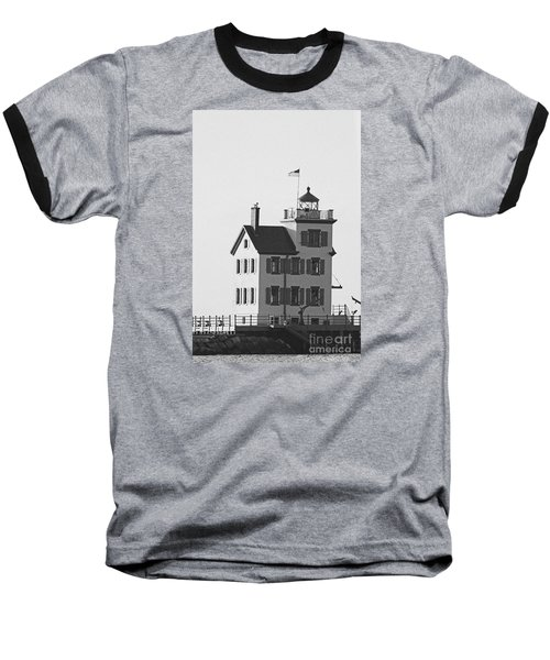 Lorain Lighthouse In Black And White Baseball T-Shirt